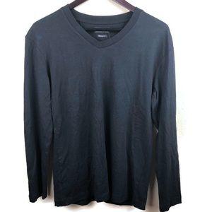 Zara Mens Long Sleeve Tee, Regular Fit Black Small
